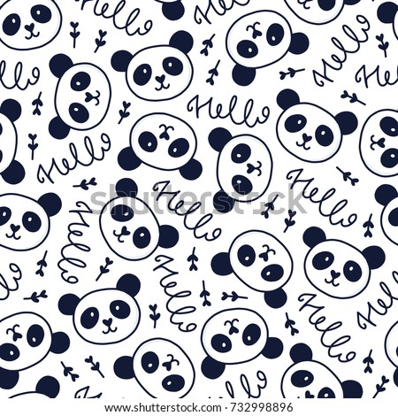 Doodles cute seamless pattern. Monochrom vector background. Illustration with panda and lettering. Design for T-shirt, textile and prints.