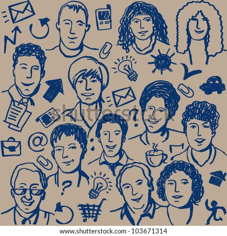 Doodles ink business icon and sketch of people seamless pattern. Hand-drawn sketch of unrecognizable business people and objects. Blue ink on the beige background. Vector illustration.