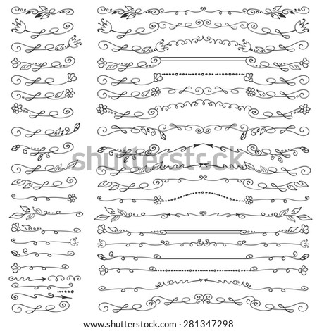 Doodles linear border,dividers,brushes,flourish decor  set.For design templates,invitations,menu.Vintage Hand drawing .For weddings,Valentines day,holidays,birthday.Vector