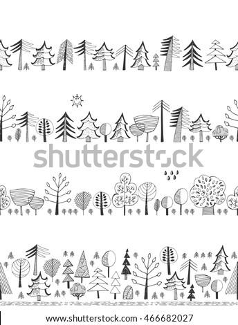 Doodles set - Forest. Seamless backgrounds. #466682027