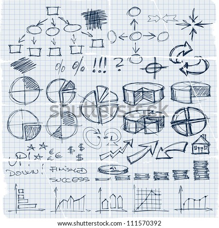 Doodles set of finance, money, graphics, diagrams, business