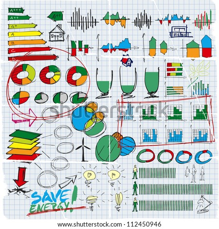 Doodles set of finance, money, graphics, diagrams, business, ecology