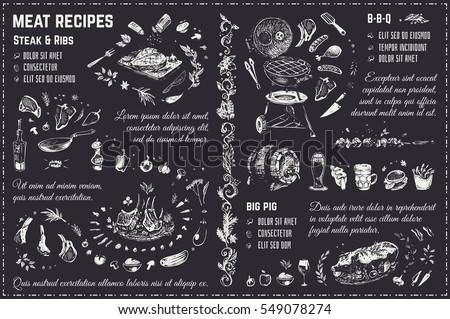 Stock Photo Doodles Sketches meat, steak, barbecue, pig, ribs. chalk on blackboard. Isolated vector illustration 4 design menu of restaurants - cafes & books cooking recipes