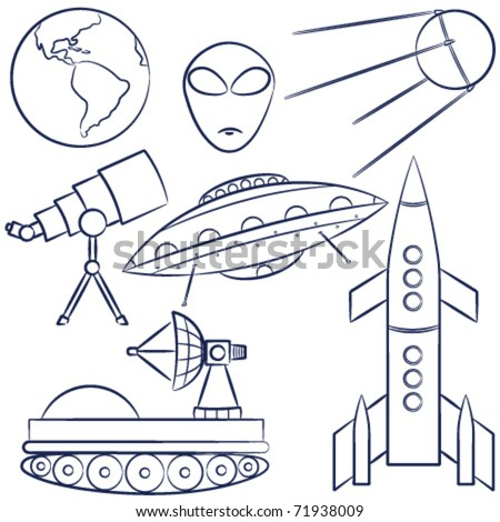 Doodles with a space exploration theme