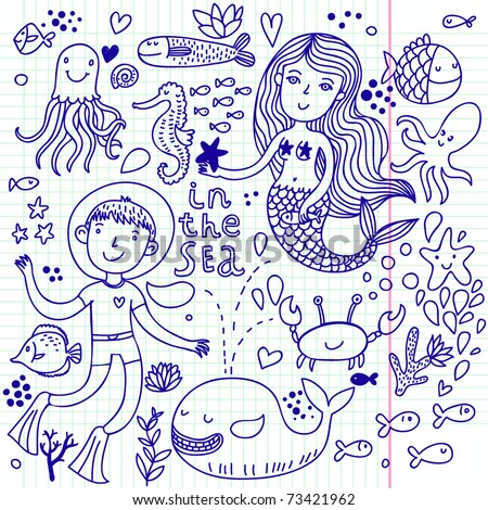 Doogle set of vector sea animals - stock vector