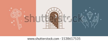 Door and key - vector abstract logo and branding design templates in trendy linear minimal style, emblem for home accessories and interior shop, small hotel and apartments, badge for small design stud