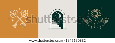 Door and key - vector abstract logo and branding design templates in trendy linear minimal style, emblem for home accessories and interior shop, small hotel and apartments, badge for small design stud Foto stock ©