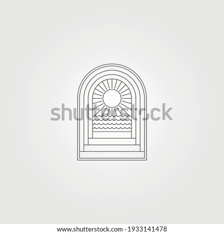 door and ocean sunburst icon