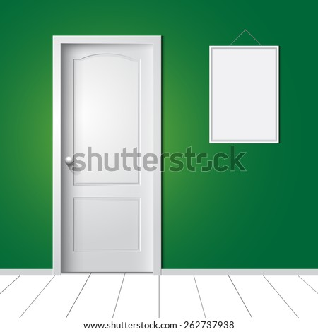 door and photo frame on the