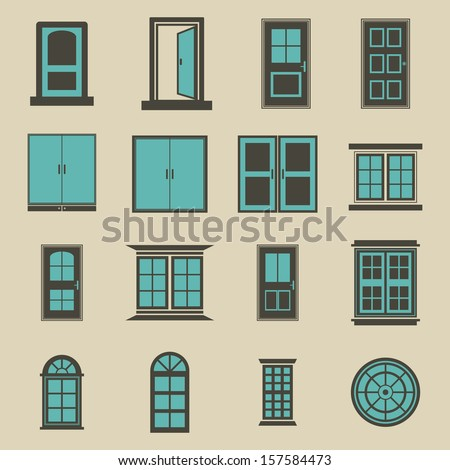 door and window vector   color