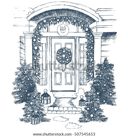 Door decoration. Christmas card poster banner. Vector illustration.
