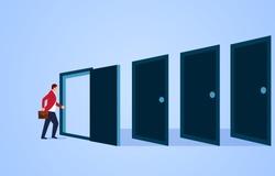 Door, endless door waiting for the businessman to cross