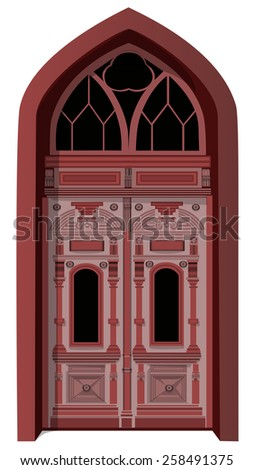 Door entrance brown Gothic isolated