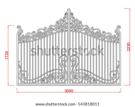 door gate vector image with...