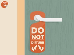 door handle hanging room tag with text shown do not disturb and make love sign,room tag design