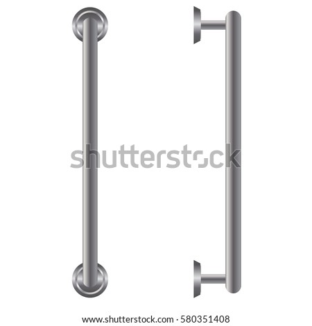 Door handle isolated on white background front and side view.