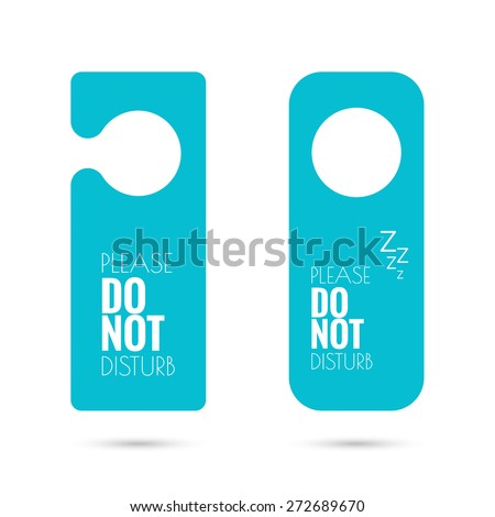 Shutterstock door hanger set. do not disturb. blue