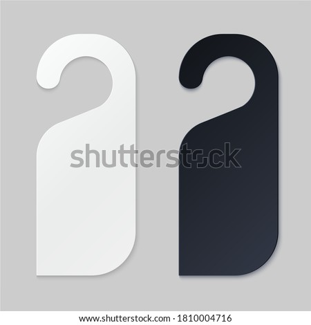 Door hangers for hotel room. Empty white and black label hanger for hotel room or resort . Empty template, mockup for text Do not diturb. Vector illustration for promotion, sale, decoration, covering Сток-фото ©