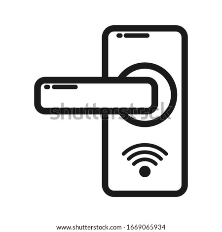Door lock ico n wit h ke y car d o r WiFi. Empty outline. Simple flat design for websites and apps  Zdjęcia stock ©