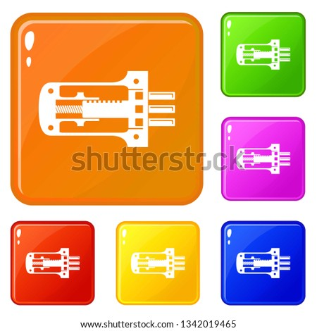Door lock in section icons set collection vector 6 color isolated on white background
