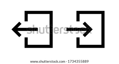 Door login signs with arrow. Vector isolated icon. Sign in sign out black vector isolaated signs. EPS 10 Photo stock ©
