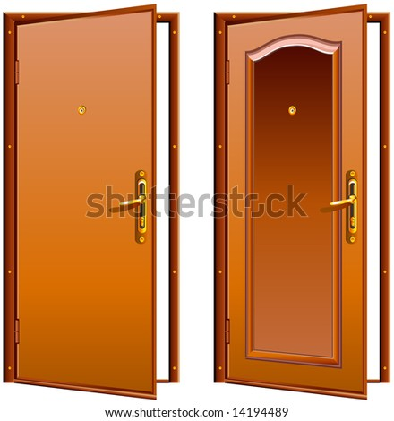 Door opened wood brown, classic design with lock, illustration