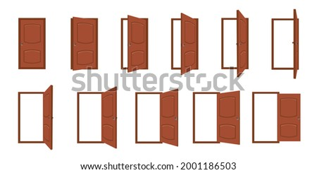 Door opening. Cartoon open and closed living room doors. House entrance with frame, home wood doorway or exit. Door animation vector frames. Door architecture to living room or office illustration