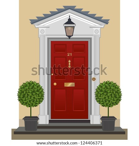 Door. Traditional Georgian red-painted front door with lantern and bay trees in planters.