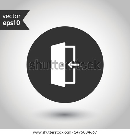Door vector icon. Exit icon. Door sign. Door with arrow flat symbol. Door line icon. Сток-фото ©