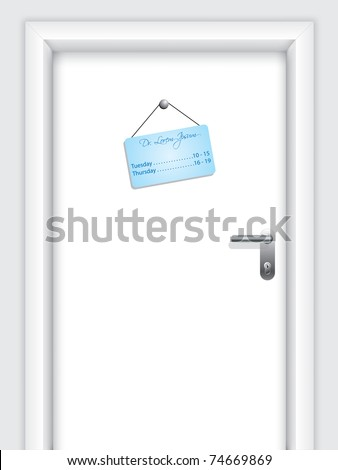 Door with doctor's hanging timetable