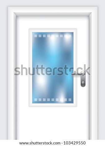 Door with dotted window and abstract background behind door