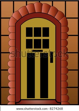 door with stones surrounding
