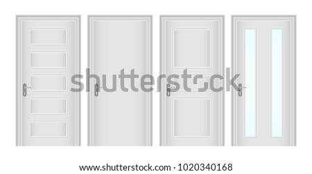 Doors, a set of white classic doors. Realistic doors. Flat design, vector illustration, vector.