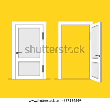 Doors closed and open. Flat cartoon style. Vector illustration.