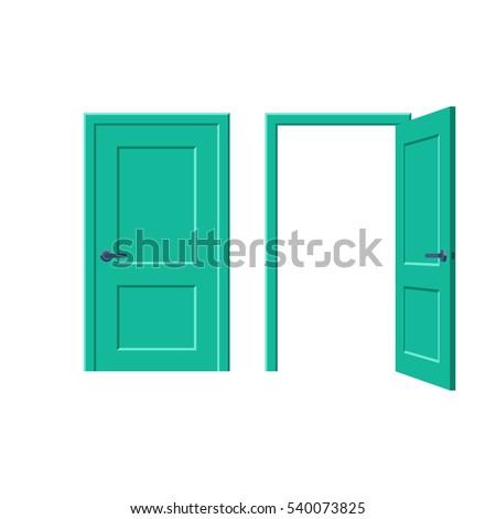 doors closed and open. vector...
