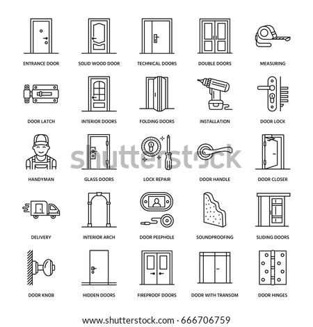 Doors installation, repair line icons. Handle, latch, lock, hinges. Interior design thin linear signs for house decor shop, handyman service.