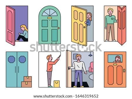 Doors of different styles. Open door Closed door. Various neighbors living in the door. flat design style minimal vector illustration.