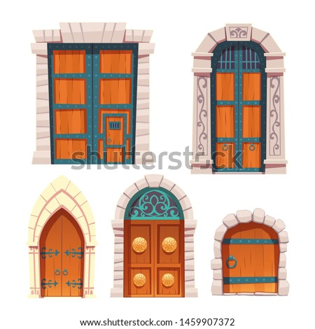 Doors set, wooden and stone medieval or fairytale arched and rectangular entries, palace or castle exterior design elements with floral and forged decoration and ring knobs Cartoon vector illustration
