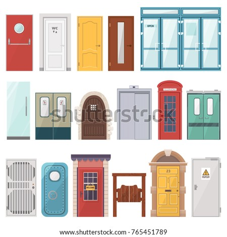 Doors vector front entrance doorway set to house and set of building in flat style doorstep illustration isolated on white background