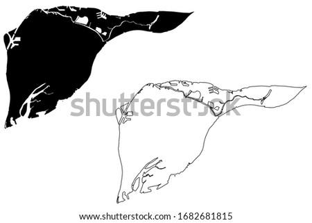Dordrecht City (Kingdom of the Netherlands, South Holland) map vector illustration, scribble sketch City of Dordt or Dort map Stok fotoğraf ©