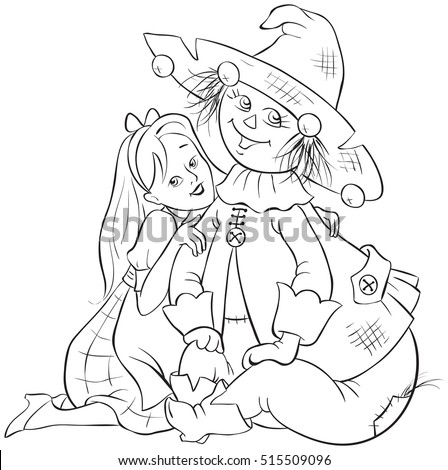 Dorothy and Scarecrow. Wizard of Oz coloring page illustration. Also available colored version