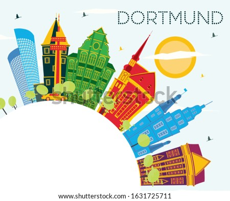 Dortmund Germany City Skyline with Color Buildings, Blue Sky and Copy Space. Vector Illustration. Business Travel and Tourism Concept with Historic Architecture. Dortmund Cityscape with Landmarks.