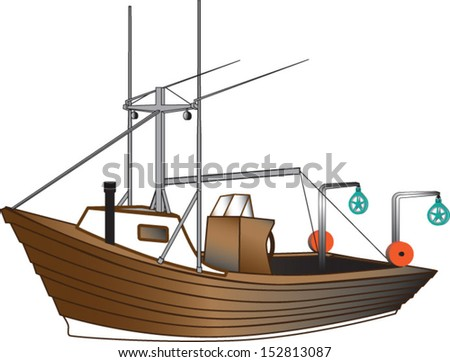 Dory wooden boat with commercial fishing equipment