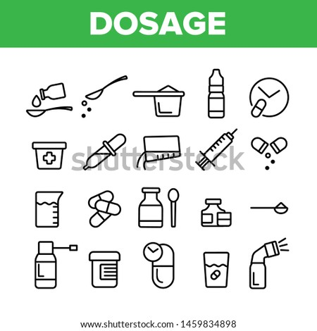 Dosage, Dosing Drugs Vector Linear Icons Set. Pharmacological Medications Dosage Outline Cliparts. Disease Treatment Prescription Pictograms Collection. Medical Therapy Thin Line Illustration Stockfoto ©