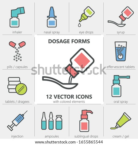 Dosage forms. Set of quality vector icons with editable line thickness and colored elements Stockfoto ©