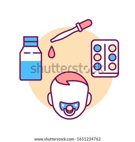 Dosage medicines for children color line icon. Pediatric health care sign. Childcare concept. Pictogram for web page, mobile app, promo. UI UX GUI design element. Stockfoto ©