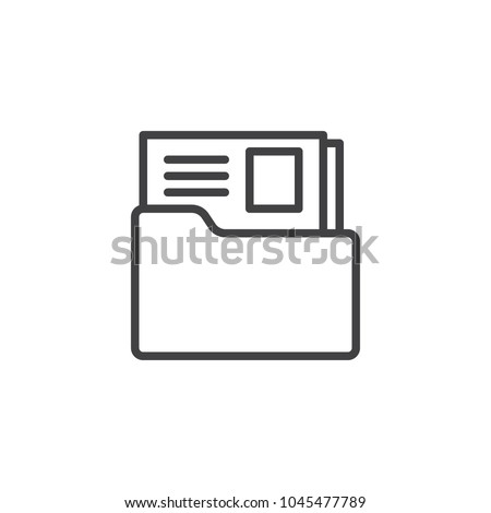 Dossier folder outline icon. linear style sign for mobile concept and web design. The secret files simple line vector icon. Symbol, logo illustration. Pixel perfect vector graphics