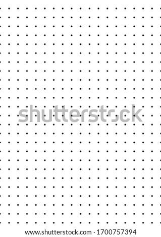 Dot A4 mock up illustration. Black dots on white background. Vector dot structure design. Dot size is 20 pixels. Vertical artwork.