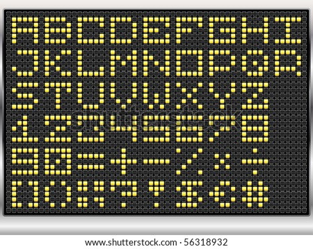 dot alphabet on black electronic display (vector eps10)