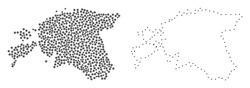 Dot and Frame map of Estonia formed with dots. Vector grey abstraction of map of Estonia. Connect the dots educational geographic drawing for map of Estonia.